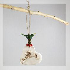 green bird ornament ceramic Christmas tree ornament pottery