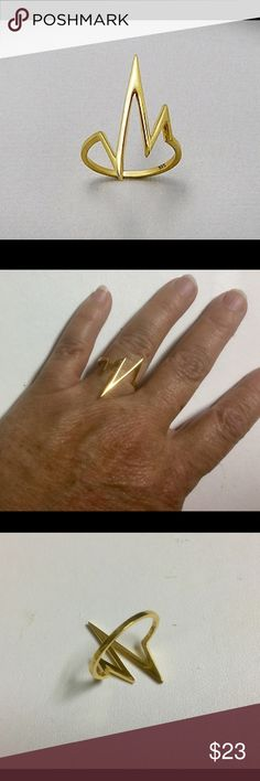 18K Gold  Plated Over Sterling Silver Ring 18K Yellow Gold Plated over 925 Sterling Silver Ring Jewelry Rings