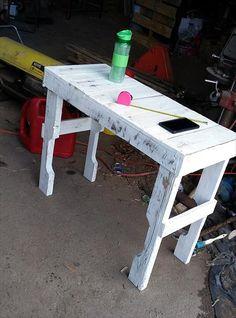 Custom White Pallet Console Table | 99 Pallets - Pallet sofa side table, media table, media console, wood pallet furniture
