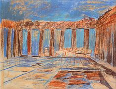 Louis Kahn Sketches | Louis Kahn, Interior, Parthenon, Acropolis, Athens, Greece, 1951 ...