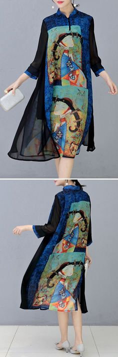 US$ 26.99 O-NEWE Vintage Stand Collar 3/4 Sleeves Printed Dresses