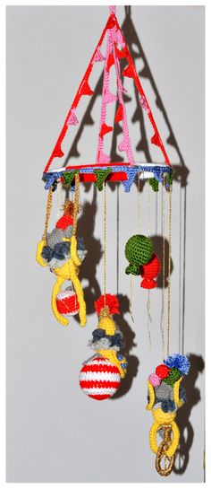 Crochet Monkey Circus Mobile by ErikasMagicWardrobe on Etsy, £45.00