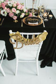 Gold glitter bride chair sign laser cut | Sergey Bulychev and Sergey Ulanov