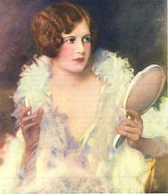 1920's Woman in Feather Boa Primping with Hand Mirror Illustration