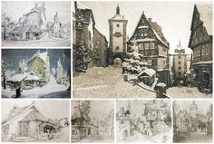 GUSTAF TENGGREN'S beautiful designs for disney's PINOCCHIO. he got the inspiration for the village from the german town of ROTHENBURG.