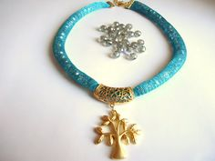 Tree of life Women accessory  With crystal beads  Blue  by bytugce, $29.00