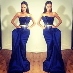 Love this color - Michael Costello royal blue strapless dress with gold bar belt. Dress info: jmcostello3@yahoo.com
