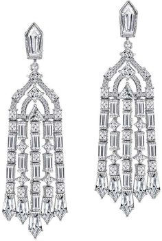 Extravagant Silver Rhodium Plated CZ Cluster Large Statement Chandelier Earrings