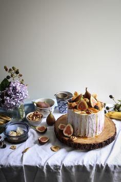 banana walnut honey cake with figs and blackberry cream-1-36