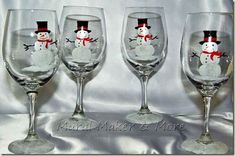 Painted wine glass - snowman