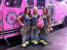 Firefighter sisters. Loving the truck! Haha ~ Re-Pinned by Crossed Irons Fitness