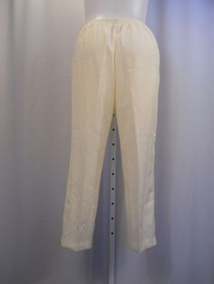 Alfred Dunner Size 16 Winter Palace Pants Solid Ivory Proportioned Short Women's #AlfredDunner #CasualPants