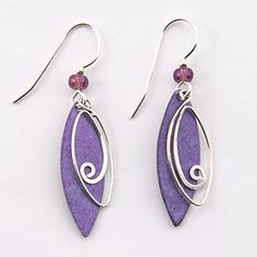 Purple patina leaf shapes with wire leaf-shaped swirl wire overlay earrings