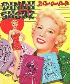 vintage movie star pper dolls   DINAH SHORE PAPER DOLLS 1956 UNCUT ORIGINAL BOOK