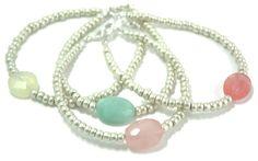 genuine quartz accent bracelets - helene h