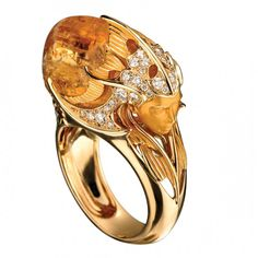 Citrine and diamond ring by Magerit