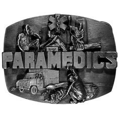 Finely sculpted and intricately designed belt buckle. Our unique designs often become collector's items. Officially licensed Military, Patriotic & Firefighter product. Fully cast, metal buckle. . . EMS. Is made by Siskiyou Gifts. Please allow 3-5 business days handling time. Ships from Oregon.