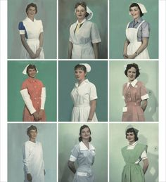 Nursing uniforms, 1950, from the Philippines, Denmark, British Honduras; Hong Kong, Madeira, Kenya; Nepal, Dominican Republic, and Colombia.