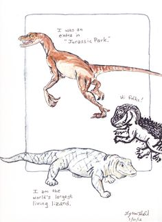 """Monster Lizards"": Dinosaur action figure, toy from the zoo (a Komodo dragon!), and a stamp I made from a drawing of a T Rex toy.  Colored with watercolors and Tombow after drawing them in ink."