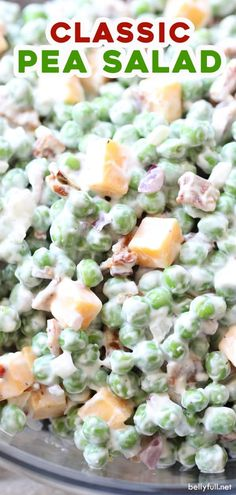 This easy green Pea Salad is an old fashioned classic recipe served cold and enjoyed all year round. Made with bacon, cheddar cheese, red onions, and a sweet dressing, all in one bowl and in only 15 minutes! Cold Pea Salad, Pea Salad With Bacon, Green Pea Salad, Orange Salad, Vinaigrette, Pea Salad Recipes, Recipe For Pea Salad, Classic Salad, Goodies