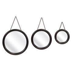 Round Hanging Mirrors- Set of 3