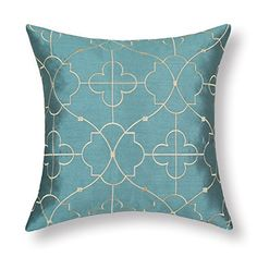 "Euphoria Cushion Covers Pillows Shell Teal Ground Soft Gold Floral Geometric Figure Embroidery 18"" X 18"" Euphoria http://www.amazon.com/dp/B00MDBYIW0/ref=cm_sw_r_pi_dp_oByoub019DTDS"