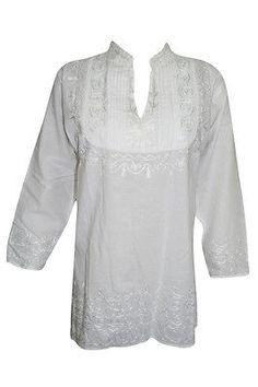 WOMEN-039-S-ETHNIC-INDIAN-TUNIC-WHITE-EMBROIDERED-COTTON-KURTA-BLOUSE-TOP-M   http://stores.ebay.com/mogulgallery/DESIGNER-KURTI-/_i.html?_fsub=665889019&_sid=3781319&_trksid=p4634.c0.m322