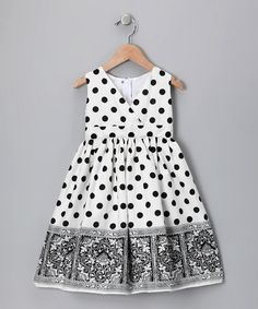 Take a look at this Black Polka Dot Border Dress - Infant, Toddler & Girls by Dimples & Blink on #zulily today!