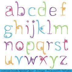 Doodle alfabet Hand getrokken Girly lettertype kleine