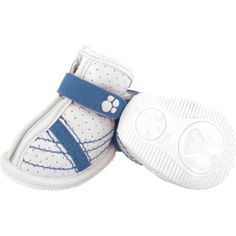 Sidekicks Blue  by FouFou Dog  Sometimes a dog needs a set of sneaks! These Sidekicks offer fashionable protection from hot summer cement, which we like to refer to as Hotsy Totsy Paw Prevention. Designed to be soft enough to bend with every step, it features a Velcro strap closure, front zipper and sole thick enough to keep those precious pads protected. Keep your pooch looking hot without burning his paws.