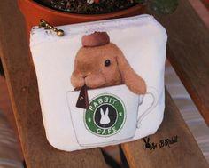 Rabbit Brown coffee bunny cute kawai wallet purse handmade art [ present, christmas, valentine, children, adult] by AriBRabbitStore on Etsy