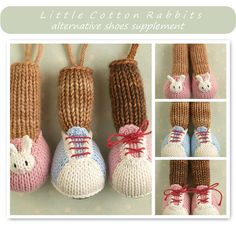 This is a pattern intended to be used as a supplement to any of my knitted animal toy patterns. It is written in English only.  Please note that the shoe options are knitted into the toy and are not removable. Included are a pair of bunny slippers and trainers either of which can be substituted for the feet included in any of the boy or girl animal patterns. There are two options for making the trainers, a simpler version and a more complex one.    Copyright © 2016 Julie Williams, Little…