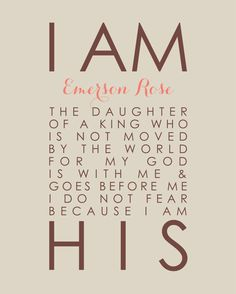 I Am His Daughter of a King Personalized Scripture by karimachal, $18.00