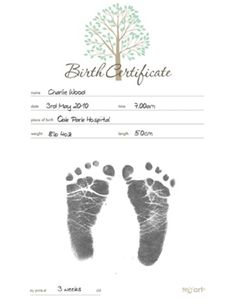Inkless Print Birth Certificate Kit Easy-to-use. Australian Made. Mess free. Unlike any other baby keepsake on the market. Beautifully designed certificate records Name, Date, Time, Weight, Length and Place of Birth. but the distinction of this certificate lies in its ability to enable parents to capture directly onto the certificate, their baby's tiny footprints with NO PAINT OR INK. #maternity #newborn #gift #personilsed #birth #Certificate