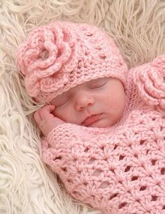 Crochet Baby Girl Cocoon with flower and matching by shellydonna, $55.00