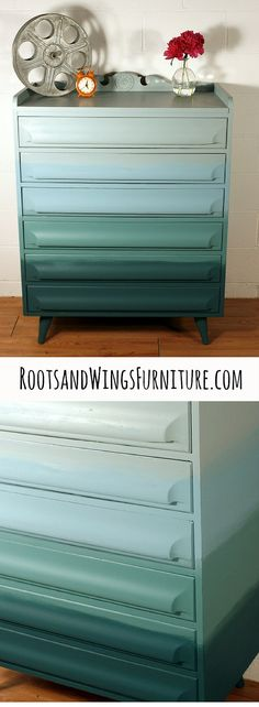 Beachy Ombre Dresser by Jenni of Roots and Wings Furniture. To get the look, order General Finishes here, https://www.etsy.com/shop/RootsWingsFurniture?ref=hdr_shop_menu&section_id=17690732