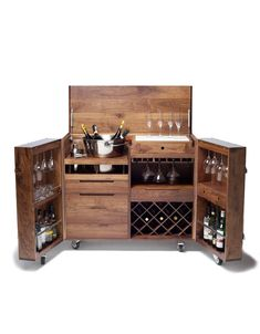 Mobile Bar and Wine Cabinet in Walnut and Stainless Steel by Naihan Li 6