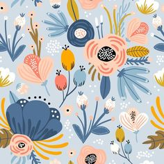 Choose the Hippie Floral Removable Wallpaper to create fantastic floral wall art in your bedroom or browse thousands of other removable wallpaper patterns and custom wall murals only at Surface Pattern Design, Pattern Art, Print Patterns, Fall Patterns, Illustration Blume, Pattern Illustration, Illustration Children, Illustration Styles, Illustration Girl