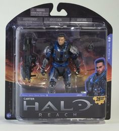 Halo Reach McFarlane Toys Series 5 Action Figure Carter Unhelmeted by McFarlane Toys. $9.33. CHOKING HAZARD - Small parts. Not for children under 3 yrs.. Recommended Age: 8 years and up. The Noble Team Spartans of Halo Reach, unlike Master Chief, are seen both with their helmets and without. This new, alternate version of Noble One brings back Carter with his unhelmeted appearance. Figure includes the new Spartan Laser weapon and a Frag Grenade.