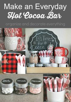 This is a great Everyday Hot Cocoa Bar using things you already have in your home. Bring it all together in a tray so the family can have cocoa anytime they like Christmas Hot Chocolate, Hot Chocolate Bars, Christmas Coffee, Hot Chocolate Recipes, Christmas Kitchen, Christmas Goodies, Christmas Treats, Christmas Decorations, Christmas Quotes