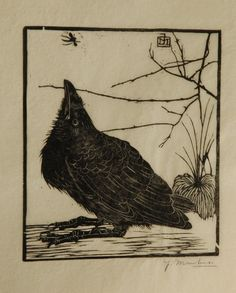 Jan Mankes  Meppel 1889-1920 Eerbeek  A crow watching a mosquito, woodcut on Japanese paper 11,8 x 10,2 cm., signed w mon in the block and l.r. in full (in pencil and executed in 1918