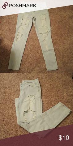 Destroyed Skinny Jeans Size 6 Charlotte Russe Boyfriend destroyed Skinny jeans! Only worn a few times! refuge Jeans Skinny