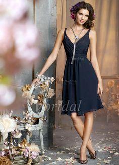 Bridesmaid Dresses - $105.47 - A-Line/Princess V-neck Knee-Length Chiffon Bridesmaid Dress With Ruffle (00705005178)