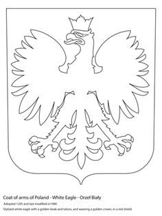 Coat of Arms of Poland coloring page from Poland category. Select from 31983 printable crafts of cartoons, nature, animals, Bible and many more. Flag Coloring Pages, Free Printable Coloring Pages, Polish Symbols, Poland Culture, Polish Tattoos, Painted Barn Quilts, Flag Quilt, World Thinking Day, Easy Arts And Crafts
