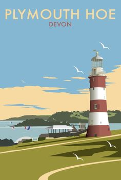 Plymouth Hoe, Devon, the Seven Sisters, UK by Dave Thompson Posters Uk, Railway Posters, Art Deco Posters, Plymouth Hoe, Plymouth England, British Travel, British Seaside, Travel Uk, Portsmouth