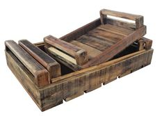NEW SET OF 3 Brown Handmade Timber Wooden Wood Decorative Trays Crates Storage | eBay