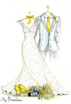 Wedding Dress, Suit & Bouquet Sketch - One Year Anniversary Gift - Bridal Shower…