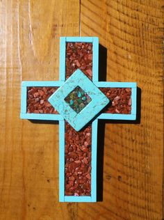 Cross Goldstone and Turquoise Cross Home Decor Wall by Windychimes, $17.75