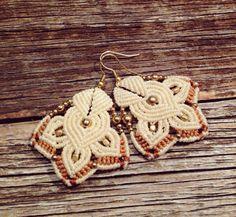White elegant boho earrings with gold beads , gipsy , ornament