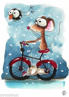 ACEO Original Watercolor Folk Art Mouse Crow Snowy Terrain Red Bicycle Snow | Lucie Stewart